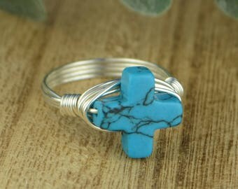 Cross Ring- Sterling Silver, Yellow or Rose Gold Filled Wire Wrapped Ring with Turquoise Colored Gemstone - Size 4 5 6 7 8 9 10 11 12 13 14