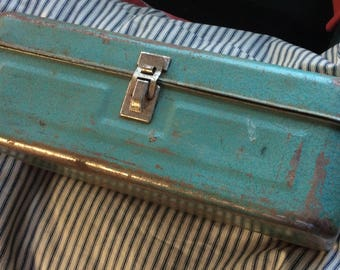 VINTAGE TOOLBOX CADDY green steel, tray, tote, storage, tackle box