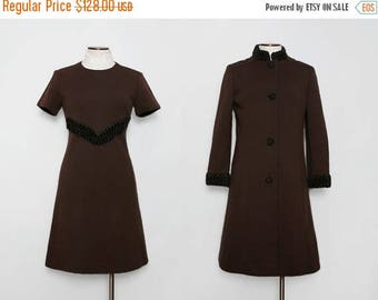 MOVING SALE 1960s Mod Shift Dress with Matching Coat / Vintage 60s Brown Dress and Jacket Set / Large