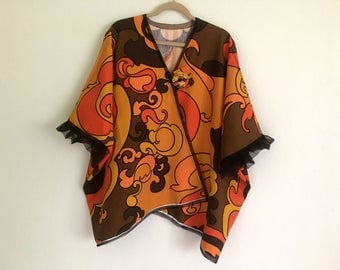 Plus size Tunic Upcycled Clothing   Wearable Art Boho Jacket Overcoat   Free shipping