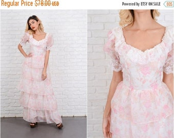 ON SALE Vintage 70s Lace Boho Dress Tiered Puff Sleeve Floral Print Pink White Maxi S 8538