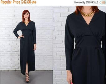 ON SALE Vintage 60s Black Mod Dress V neckline Long Sleeve Maxi Party Cocktail Small 9593