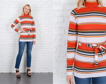 Vintage 70s Red + White Striped Top Mod Turtleneck Small S 10091