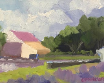 The Lavender Farm Small Oil Painting on Canvas