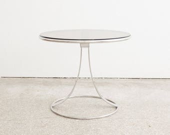 Mid Century Chrome & Glass Side / End Table