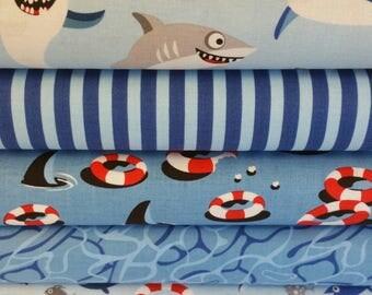 Blue Sharktown Bundle from Riley Blake's Sharktown Collection - 5 Fabrics