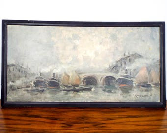Vintage Signed Oil on Canvas Nautical Painting Seascape Boats Ships by V Benior