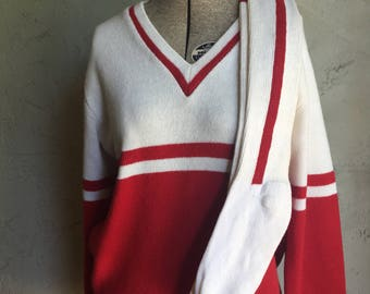 Vintage Acrylic Cheerleader Red and White Sweater with Matching Socks 1960s