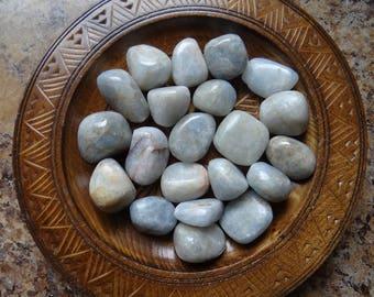 BLUE CALCITE Stone Gemstone Crystal Tumbled 4 oz Wiccan Pagan Metaphysical Reiki Chakra Supply