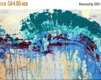 50% off SALE Clearance Sale: Original Modern Abstract Handpainted Acrylic Thick 3d Texture Impasto Palette Knife Painting. Size 18 x 36
