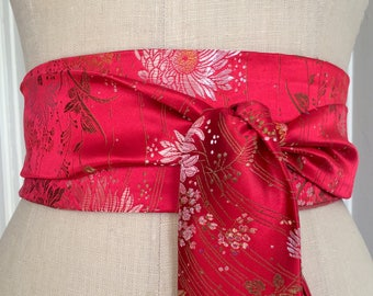 Bright orange red obi belt sash, wedding obi belt, Asian brocade obi sash, reversible obi sash, waist cincher belt