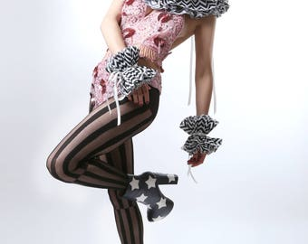 Zig Zag Black & White Circus Wrist Cuffs