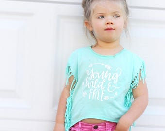 Young, Wild and Free | Vinyl tee - Kids comfy tee - summertime t shirt - kids cover up