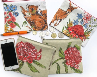 Australian Pencil Case Zippered Pouch . Various Fabric Patterns - Choose one . Handmade . Ladies, Adult, Teen . Birthday Christmas Gift Idea