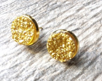 Shimmering Gold Druzy Earrings - Resin Druzy Earrings - Gemstone Earrings - Druzy Stud Earrings - Druzy Jewelry