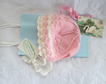 Hand Crochet Baby Bonnet Luxury Wool 6M to 9M Ready to Ship Pink/White
