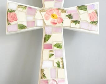 Large Vintage Franciscan Desert Rose MOSAIC CROSS - Broken China - Stained Glass - Art Piece