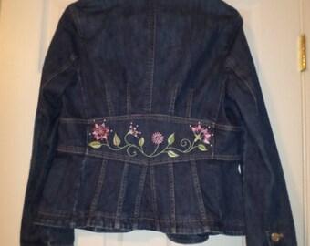 Vintage Embroidered Jean Jacket Womens Jean jacket Hippie Jacket Bohemian Jacket