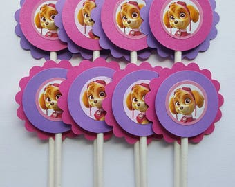 Paw Patrol Skye Inspired Cupcake Toppers - Pink & Purple - Qty: 12 - Skye Paw Patrol Birthday Party