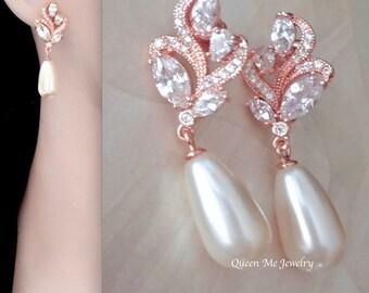 Rose gold pearl earrings, Cubic zirconia's, Swarovski earrings, Marquise cut, Wedding earrings, Pearl drop earrings, Outstanding, LILLY