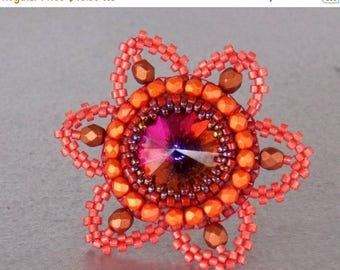 Summer sale Ring,Bead embroidery , Seed beads jewelry, Fashionable ring, Statement ring, Swarovski, Volcano, red, rust