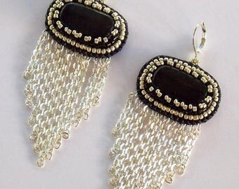 Summer sale Chained Earrings, Gemstone Earrings, Bead embroidered, Fashionable Jewelry, Classic Colors, Black Jasper Earrings,Black, silver