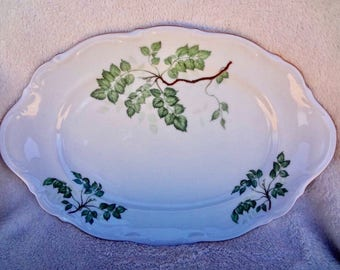 Vintage Mitterteich Bavaria Green Leaves Platter
