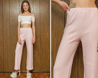 Vintage 60s 70s Baby Pink White Gingham Square Print Textured High Waist Stretch Bell Bottom Flare Elastic Lightweight Granny Pants S M L