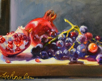 Original Painting still life of GRANATE EN DRUIWE,  perfect gift for mom,