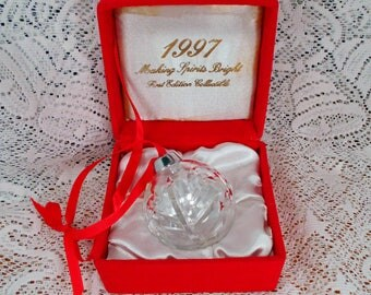 first edition 24 lead crystal ornament with tree design original box czech republic
