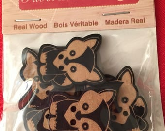 Favorite Findings  SIX pack Real Wood Woodland Fox two-hole buttons