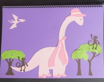 Fun Dinosaur Album Lady Dinosaur with pink hat scarf and shoes Monkeys Trees Birthday Workbook Journal