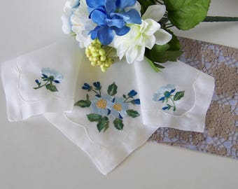 Wedding Handkerchief for a Bride, Vintage Hanky Something Old and Something Blue - Shower Gift, Mother of the Bride Gift, with Gift Envelope