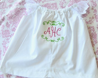 Baptism Christening personalized dress and diaper cover with  FREE monogram!