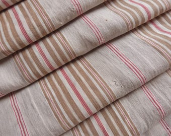 Vintage linen mattress ticking French ticking stripe fabric red beige gray striped ticking mattress toile sewing supply textile fabric