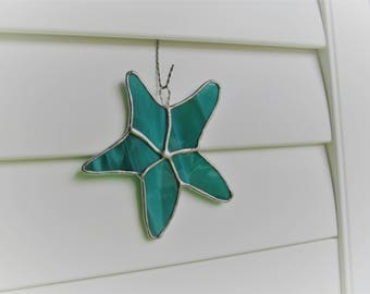 Starfish in Teal and White Wispy Translucent Glass -  Authentic Stained Glass