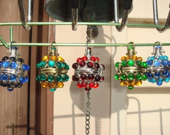 Special Witch Ball Lockets w Vintage Bohemian Glass Cabs Set In A Variety Of Color Choices