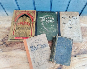 Antique Religious Books - Gospel Hymns - Song Books - 1800's books - 1858 Hymn Book - 100 + Year Old Books