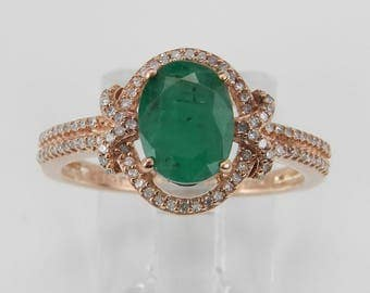 Diamond and Emerald Halo Engagement Ring Rose Pink Gold Size 7 May Birthstone