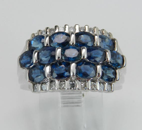 1.70 ct Diamond and Sapphire Anniversary Band Wedding Ring White Gold Size 7