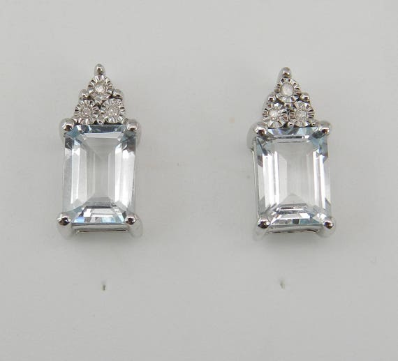 Aquamarine and Diamond Stud Earrings Aqua White Gold Studs March Birthstone