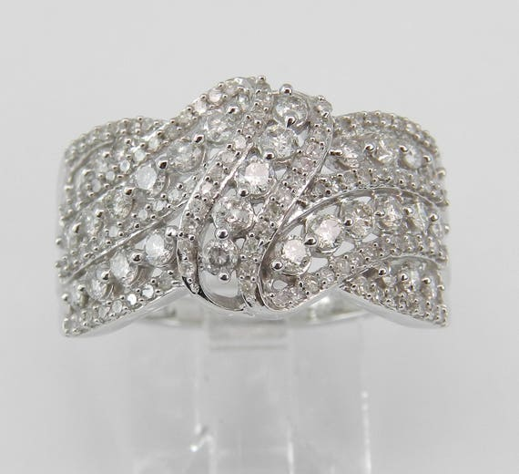 White Gold 1.00 ct Diamond Wedding Ring Anniversary Cocktail Cluster Band Size 7