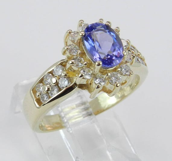 Diamond and Purple Oval Tanzanite Ring Halo Engagement Ring set in 14K Yellow Gold Size 6.25