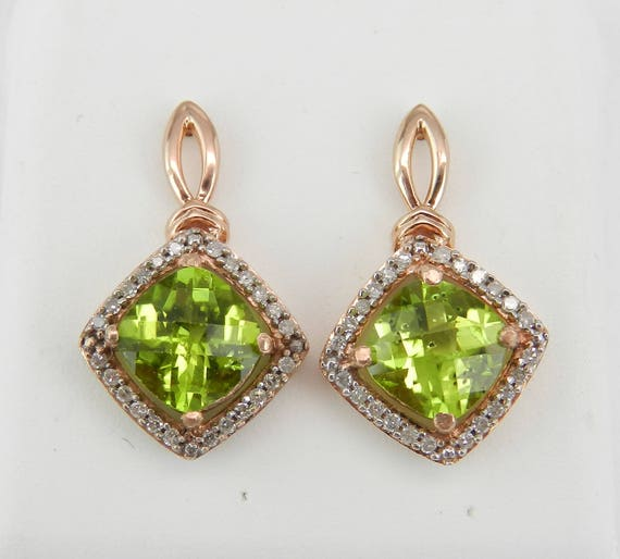 Cushion Cut Peridot and Diamond Halo Earrings 14K Rose Gold August Gemstone Birthstone