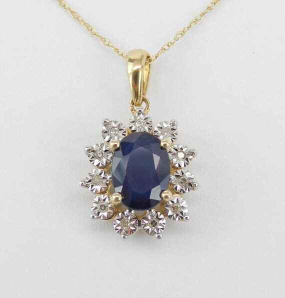 """Diamond and Sapphire Pendant Necklace 14K Yellow Gold 18"""" Chain September Gemstone"""