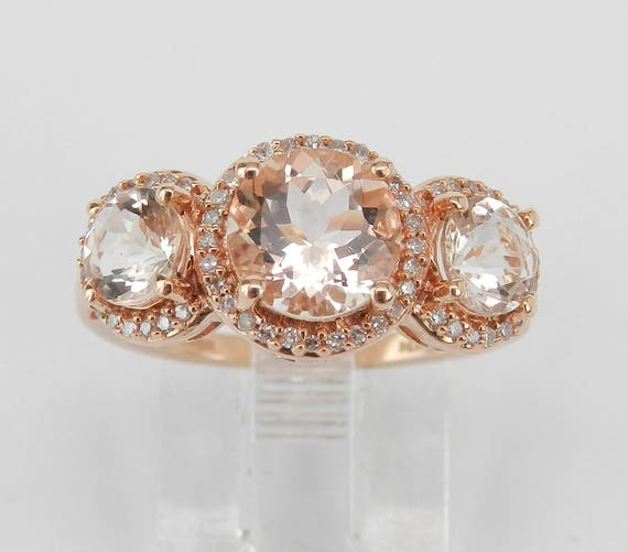 Three Stone Morganite and Diamond Halo Engagement Promise Ring Rose Gold Size 6