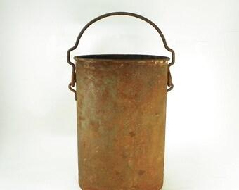 Large Rusty Farm Bucket, Farmhouse Milk Bucket