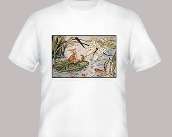 Thumbelina Vintage Book Illustration Adult Tshirt  -- other tshirt color and personalization available - adult sizes S-3XL