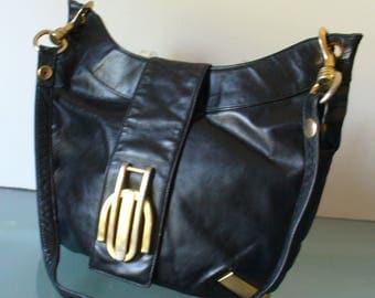 Vintage Susan Gail Black Leather Hobo Bag