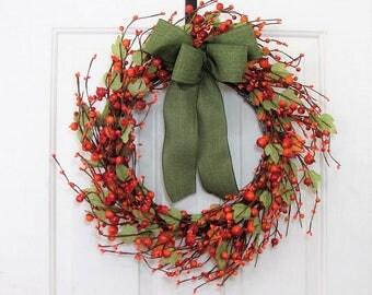 Storm Door Wreath - Fall Wreath - Orange Berry Wreath - Fall Door Decor - Pip Berry Wreath - Autumn - Thanksgiving Decor - Halloween